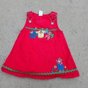 Vintage girls red denim dress/ overalls size 12 mo